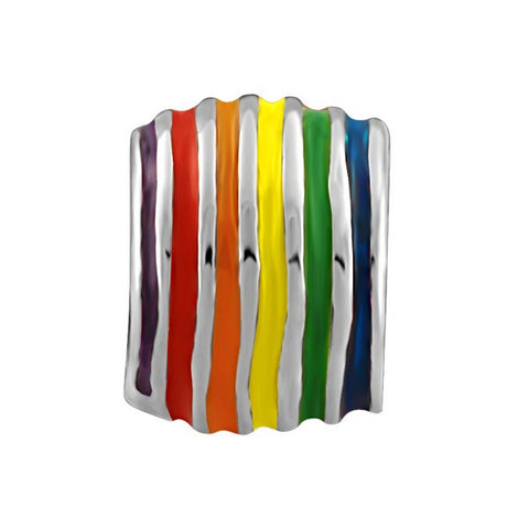 SILVER RAINBOW STRIPED BEAD BEA-YAF-0109