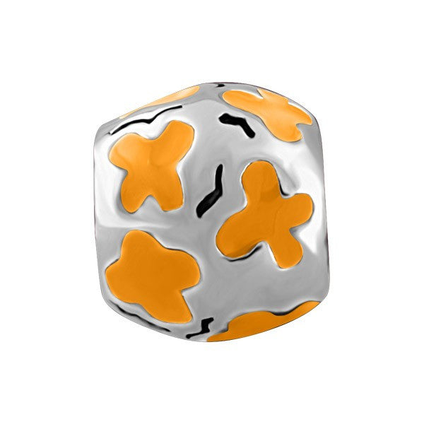 SILVER ORANGE BUTTERFLY BEAD BEA-YAF-0117