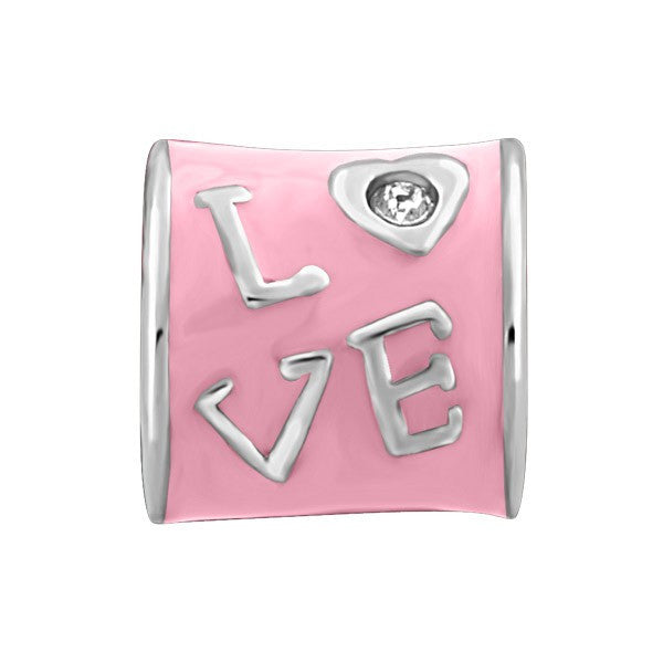 "SILVER PINK ""LOVE"" & CZ DANGLE BEAD BEA-YAF-0120"