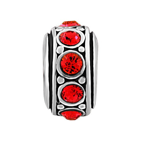SILVER RED CRYSTAL BEAD BEA-YAF-0125