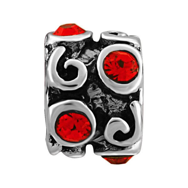 SILVER RED CRYSTAL SCROLL BEAD BEA-YAF-0126