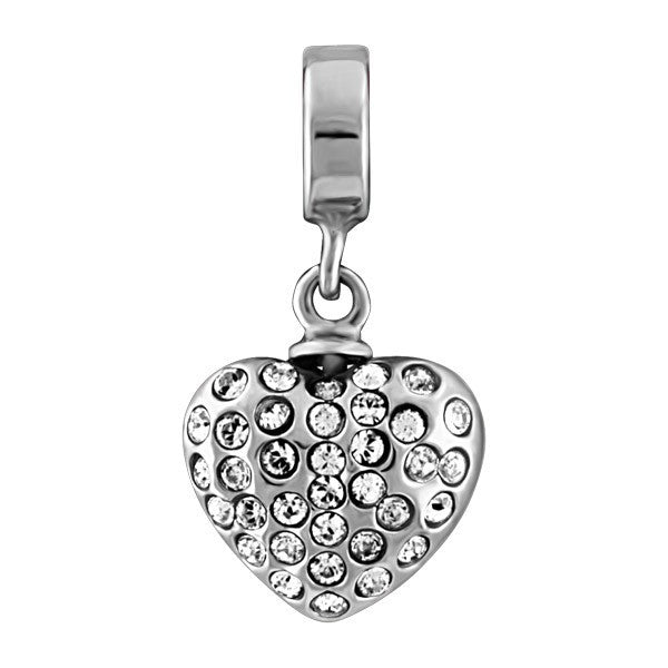SILVER WHITE CRYSTAL HEART DANGLE BEAD BEA-YAF-0136