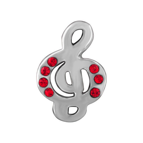 SILVER RED CRYSTAL TREBLE CLEF BEAD BEA-YAF-0147