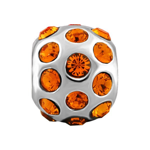 SILVER ORANGE CRYSTAL BEAD BEA-YAF-0170