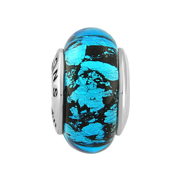 SILVER BLUE & BLACK SPLATTER GLASS BEAD BEA-YAF-0068