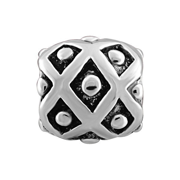 SILVER DIAMOND PATTERN BEAD BEA-YAF-0045