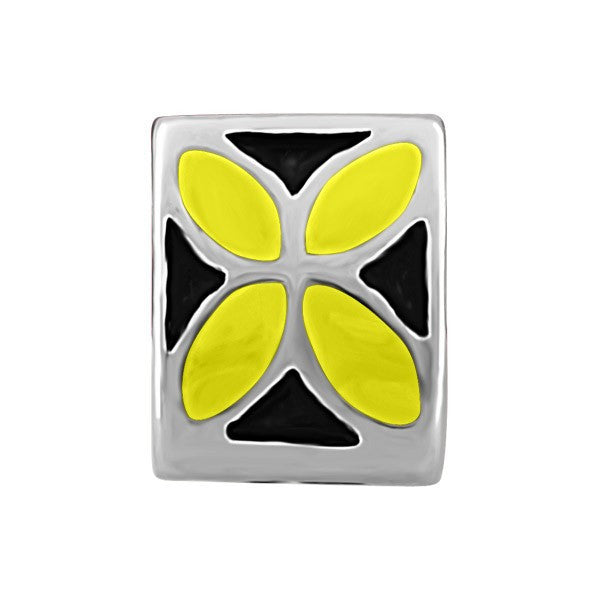 SILVER BLACK & YELLOW FLOWER BEAD BEA-YAF-0089