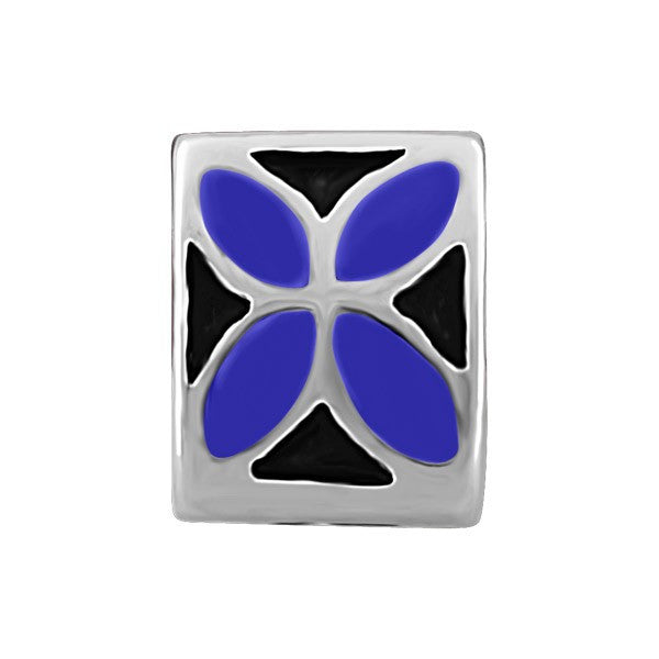 SILVER BLACK & BLUE FLOWER BEAD BEA-YAF-0090