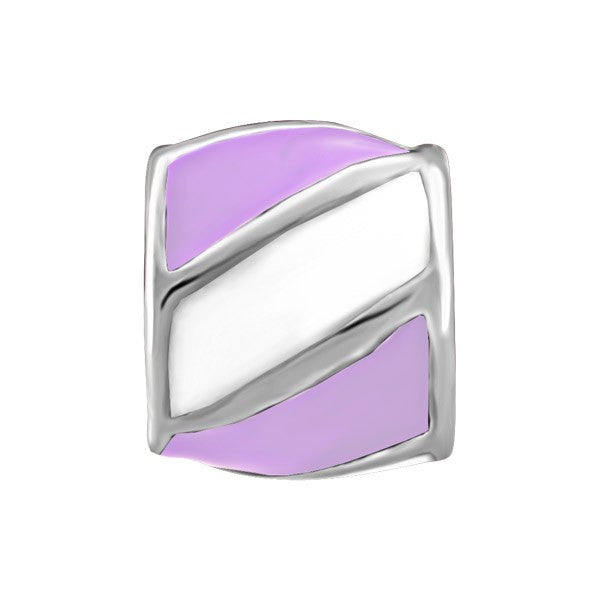 SILVER PURPLE & WHITE STRIPED BEAD BEA-YAF-0099