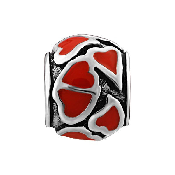 SILVER RED HEARTS BEAD BEA-YAF-0100