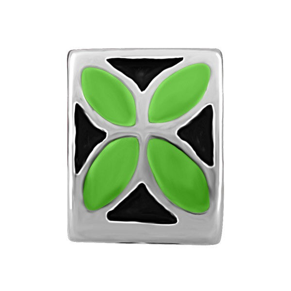 SILVER BLACK & GREEN FLOWER BEAD BEA-YAF-0103