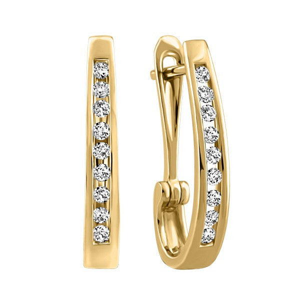 GOLD 0.10 CTW DIAMOND HOOP EARRINGS EAR-DIA-0084