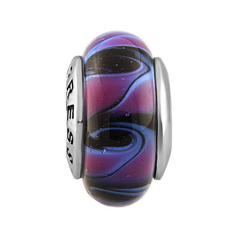 SILVER PURPLE & BLACK SWIRL GLASS BEAD BEA-YAF-0074