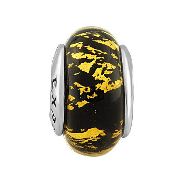 SILVER BLACK & GOLD SPLATTER GLASS BEAD BEA-YAF-0078