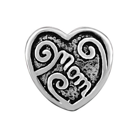 "SILVER HEART ""MOM"" BEAD BEA-YAF-0087"