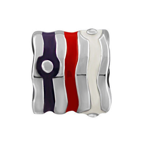 SILVER WHITE, RED, & PURPLE STRIPED BEAD BEA-YAF-0095