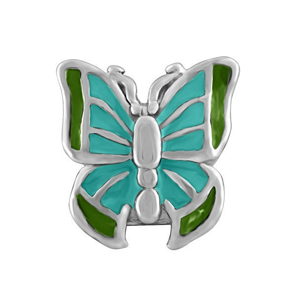 SILVER BLUE & GREEN BUTTERFLY BEAD BEA-YAF-0102