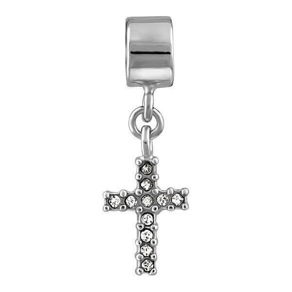 SILVER CRYSTAL CROSS DANGLE BEAD BEA-YAF-0140