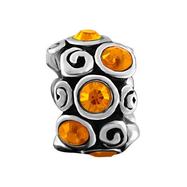 SILVER ORANGE CRYSTAL BEAD BEA-YAF-0143