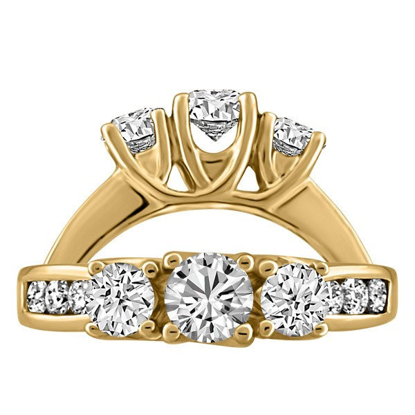 GOLD 1.00 3 STONE ENGAGEMENT RING RIN-LDI-1019