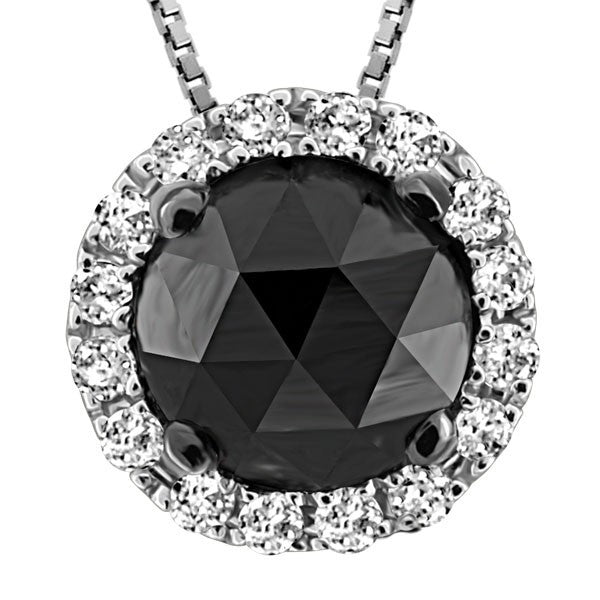 WHITE GOLD BLACK DIAMOND PENDANT PEN-GEM-1716