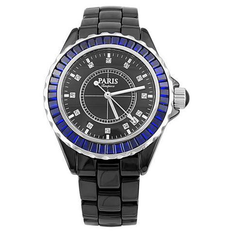 MENS PARIS TIMEPIECE BLACK AND BLUE WATCH