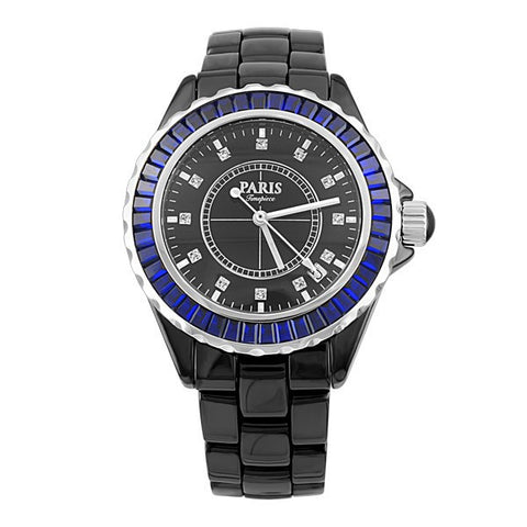 LADIES PARIS TIMEPIECE BLACK AND BLUE WATCH