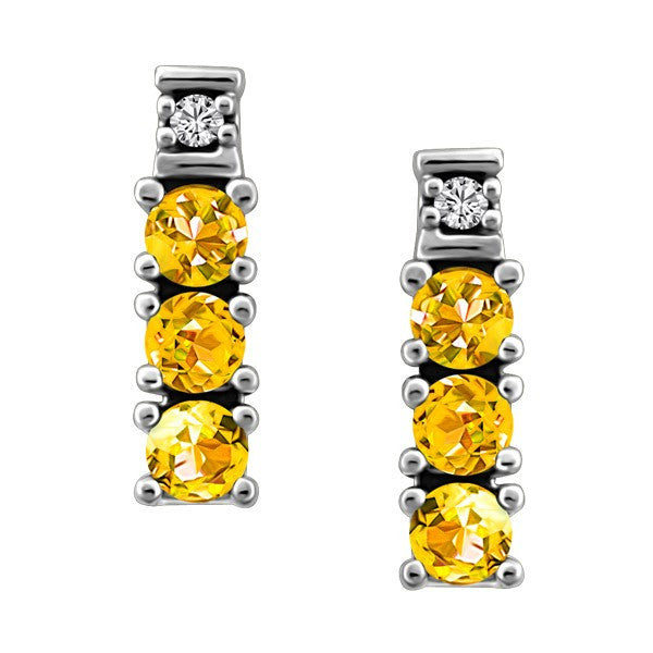 WHITE GOLD DIAMOND & CITRINE EARRINGS EAR-GEM-0440