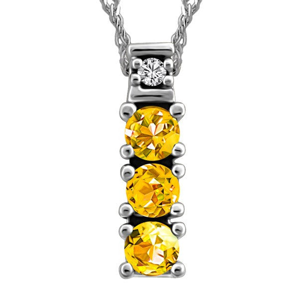 WHITE GOLD DIAMOND & CITRINE PENDANT PEN-GEM-0510