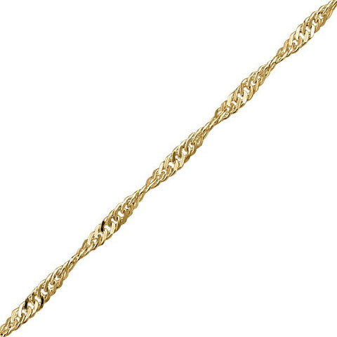 "7"" YELLOW GOLD SINGAPORE CHAIN BRACELET BRA-SIN-0012"