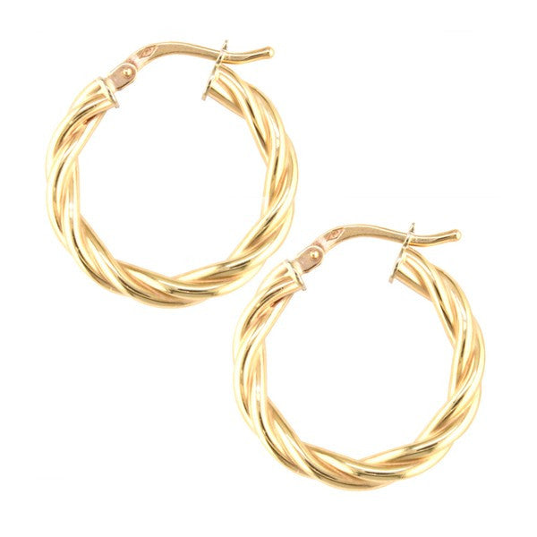 YELLOW GOLD TWISTED HOOP EARRINGS EAR-GLD-2842