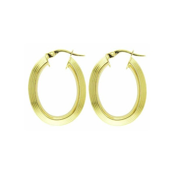 YELLOW GOLD OVAL HOOP EARRINGS EAR-GLD-2840