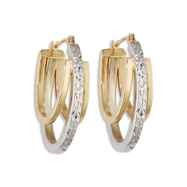 TWO TONE GOLD FANCY HOOP EARRINGS EAR-GLD-2841