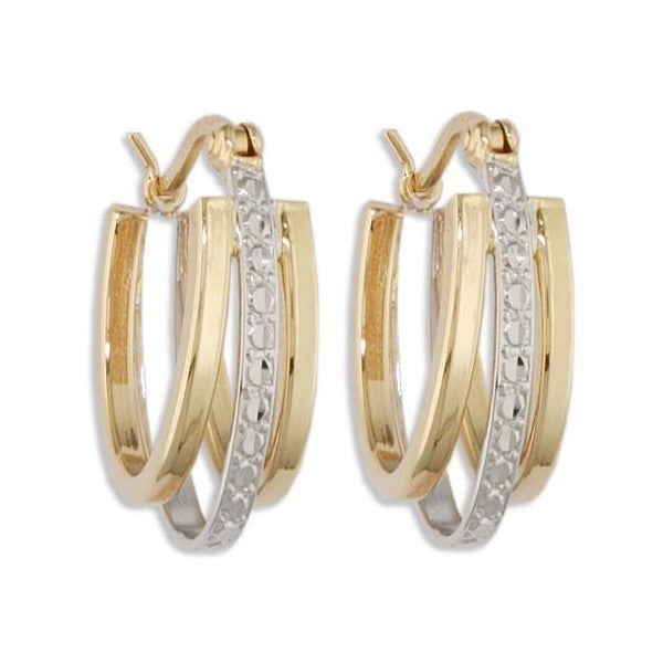 TWO TONE GOLD HOOP EARRINGS EAR-GLD-2972