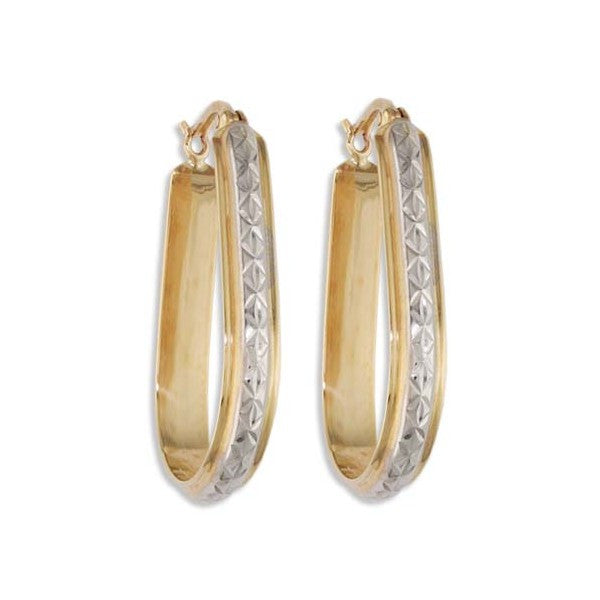 TWO TONE GOLD OVAL HOOP EARRINGS EAR-GLD-2966