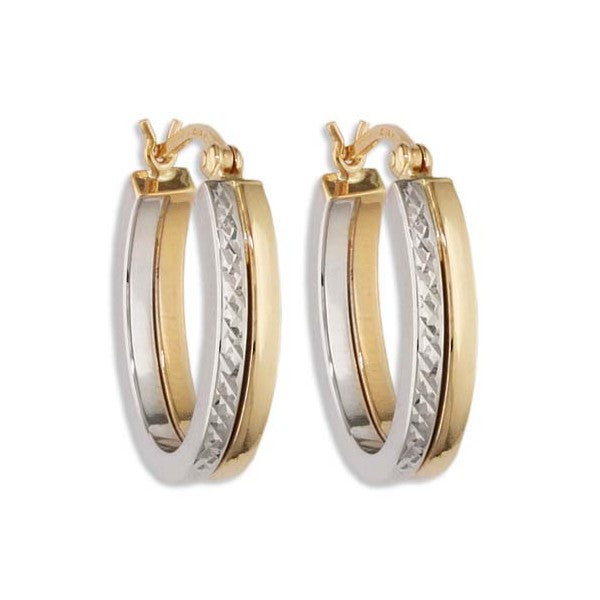 TWO TONE GOLD HOOP EARRINGS EAR-GLD-2957