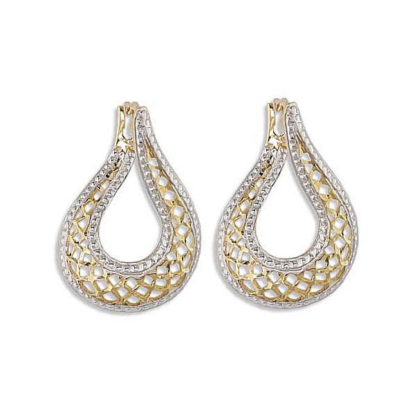 TWO TONE GOLD HOOP EARRINGS EAR-GLD-2948
