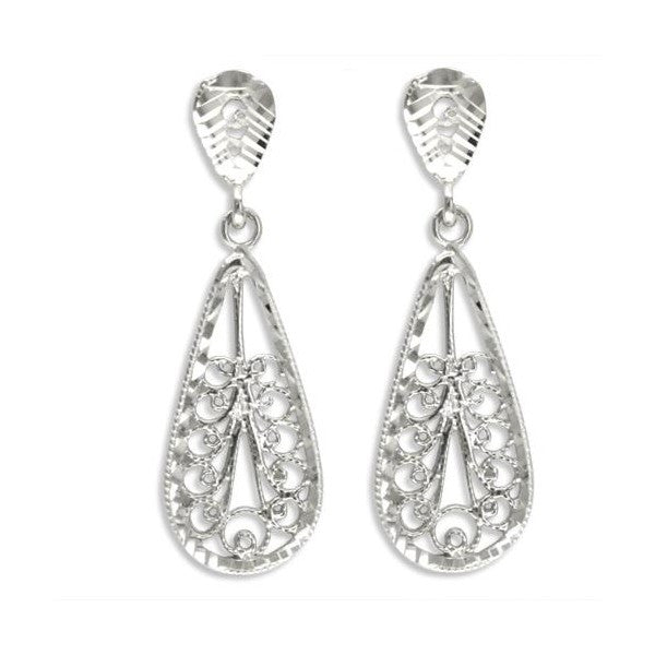 WHITE GOLD FILIGREE DROP EARRINGS EAR-GLD-2958