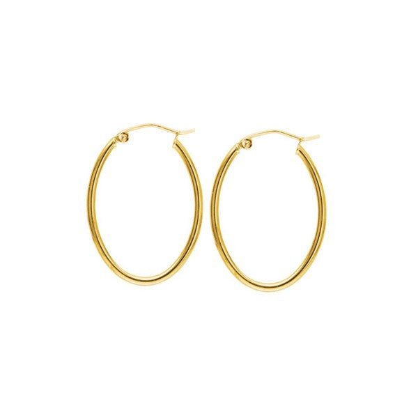 YELLOW GOLD OVAL HOOP EARRINGS EAR-GLD-3007
