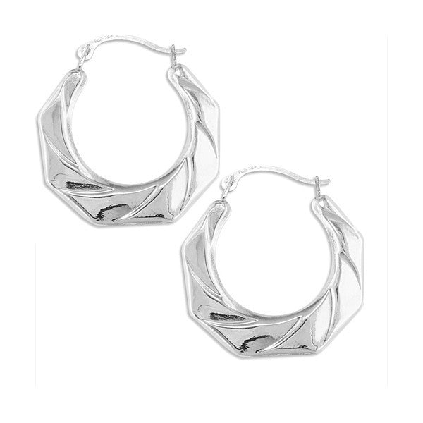 WHITE GOLD FANCY HOOP EARRINGS EAR-GLD-2816