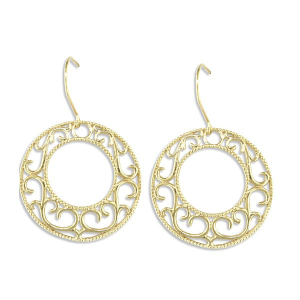 YELLOW GOLD FILIGREE HOOP EARRINGS EAR-GLD-2991