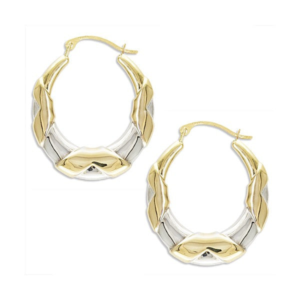 TWO-TONE GOLD FANCY HOOP EARRINGS EAR-GLD-2832