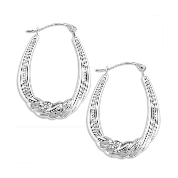 WHITE GOLD FANCY OVAL HOOP EARRINGS EAR-GLD-2830