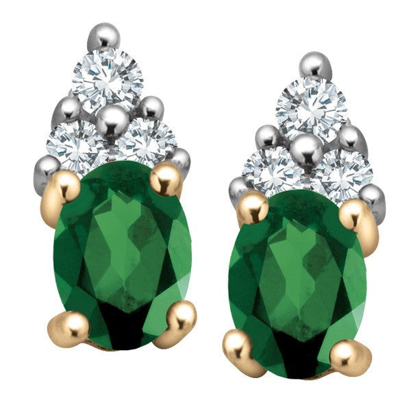GOLD DIAMOND AND EMERALD EARRINGS EAR-GEM-0610