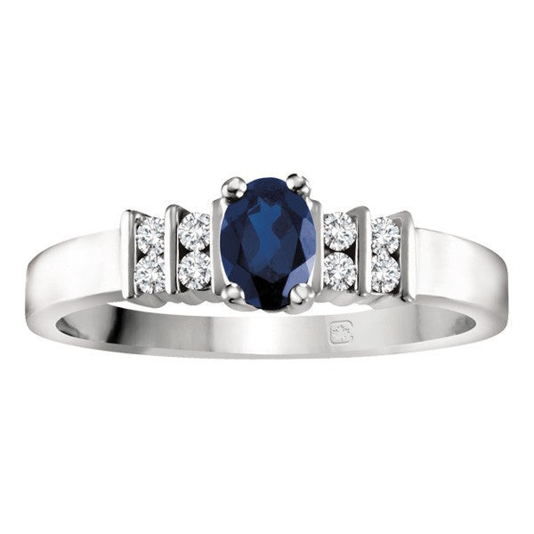 WHITE GOLD AND BLUE SAPPHIRE RING RIN-LGM-1524