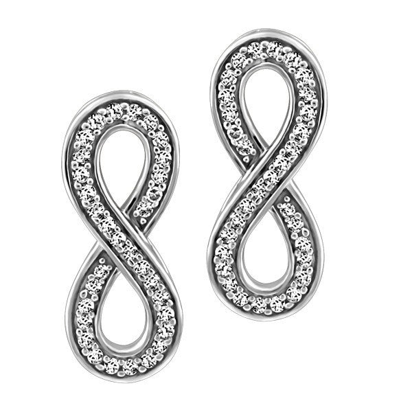 WHITE GOLD INFINITY EARRINGS EAR-DIA-1342