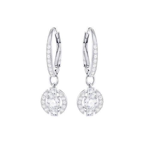 Swarovski Sparkling Dance Round Pierced Earrings White
