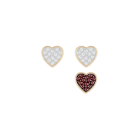 Swarovski Crystal Wishes Heart Pierced Earring Set Red