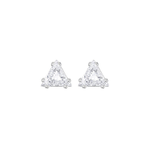 Swarovski Attract Triangle Stud Pierced Earrings White