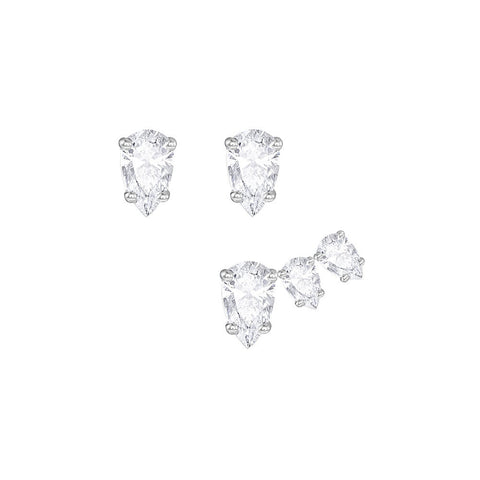 Swarovski Attract Pear Pierced Earring Set White Rhodium plating